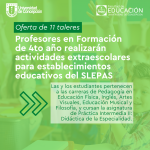 Imagen Estudiantes de cuarto año realizarán talleres extraescolares para establecimientos educativos del SLEPAS